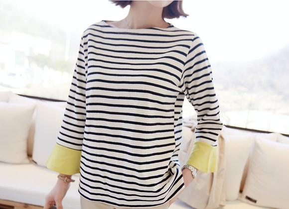 Cute Color Block 3/4 Sleeved Stripe Top