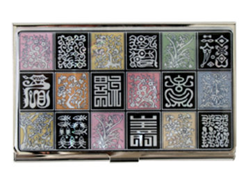 Mother of Pearl Credit Card Holder Wallet with Chinese Characters