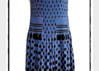 Blue Pleated Polka Dot Patterned Short Sleeved Dress