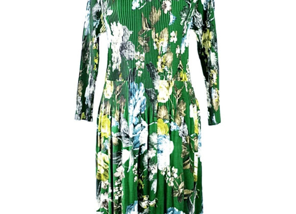 Green Pleated Flower Patterned Elasticated Dress