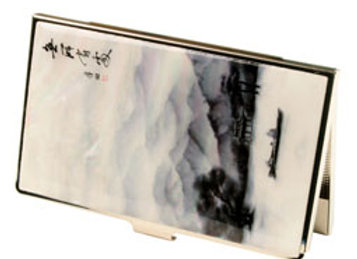 Mother of Pearl Anti Scan Credit Card Case with Row Boat on Lake Painting
