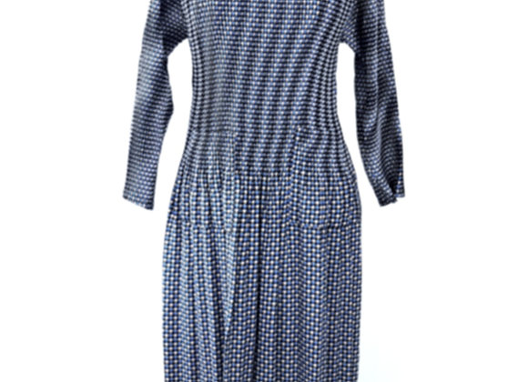 Navy Blue Pleated Swallow Grid Patterned Elasticated Dress
