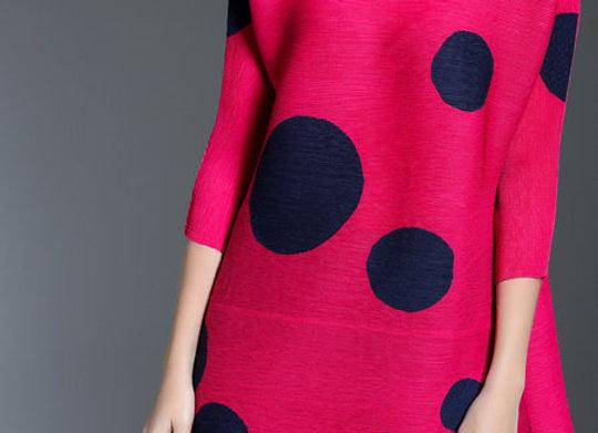 Casual V Neck H-line Polka Dots 3/4 Sleeve Tunic