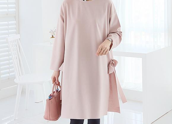 Elegant Ribbon-Point Side-Slit Tunic Dress