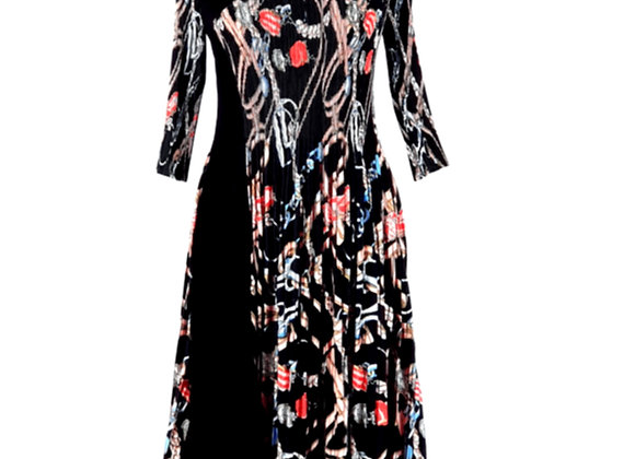 Black Pleated Floral Knot Chain Printed Elasticated Dress
