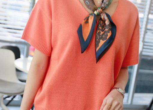 Bright Short-Sleeved Knit Top