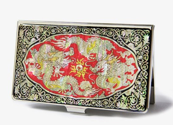 Anti Scan Credit Card Case with Golden Dragon Design