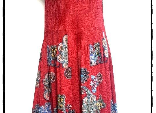 Scarlet Pleated Sun Flower Patterned Short Sleeved Dress