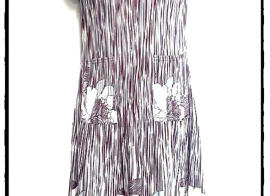 Burgundy Stripe Pleated Lily Patterned Short Sleeved Dress