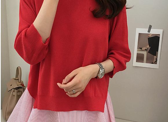 Two Color Frilled Inner Top & Back-Slit Knit Top Set