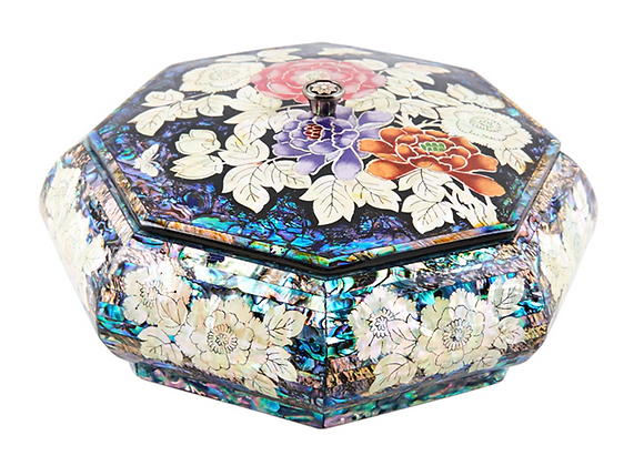 Mother of Pearl Octagonal Trinket Jewellery box with Peony Blossoms