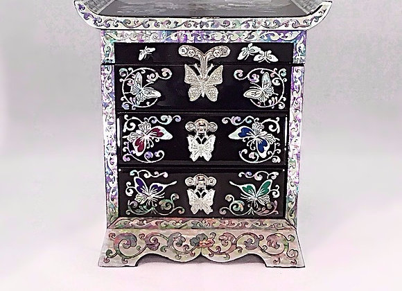 Mother of Pearl 3 Drawer Chest Jewellery Box with Butterfly Design