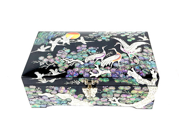 Black Rectangular Double Compartment Chest Box with Cranes and Pine Tree Design