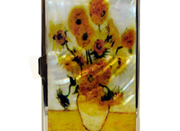 Mother of Pearl Anti Scan Credit Card Case with Sunflowers by Van Gogh