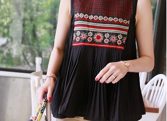 Embroidered A-Line Pleated Sleeveless Top