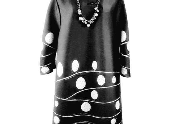 Charcoal Pleated Polkadot Wave Patterned Elasticated Dress with Pearl Necklace