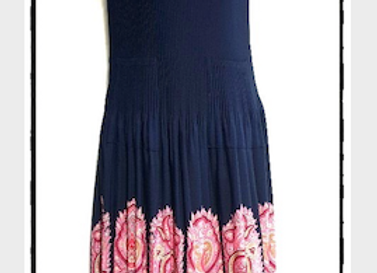 Navy Blue Pleated Moroccan Style Patterned Short Sleeved Dress