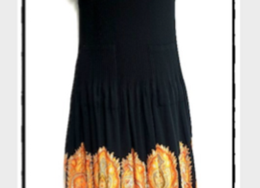 Black Pleated Moroccan Style Patterned Short Sleeved Dress