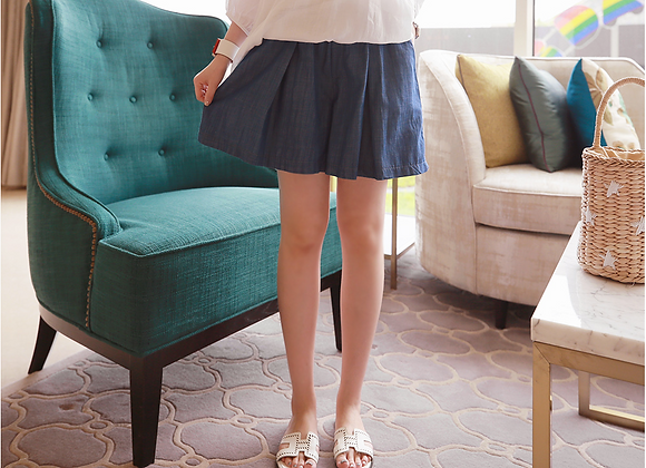 Natural Denim Frilled Short Banding Pants