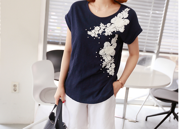 Pearl and Embroidered Flower Motif Cotton Top