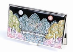 Mother of Pearl Anti Scan Credit Card Case with Night Landscape Design