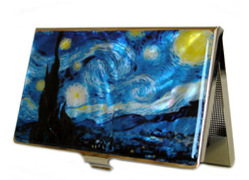 Mother of Pearl Anti Scan Credit Card Case with Starry Night by Van Gogh