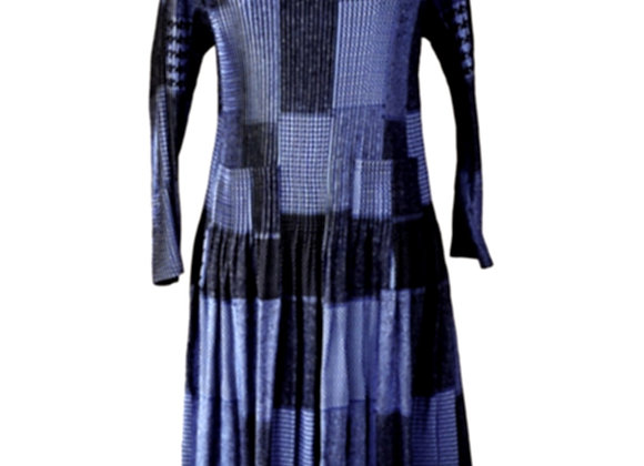 Navy Blue Pleated Square Patterned Elasticated Dress