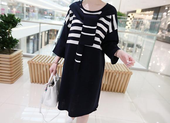 Shoulder Cuddle Stripe Tunic Dress