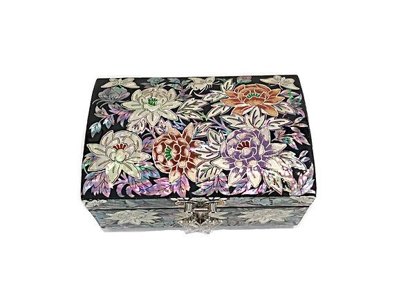 Mother of Pearl Dome Style Top-Lid Jewellery Box with Fully Bloomed Flowers