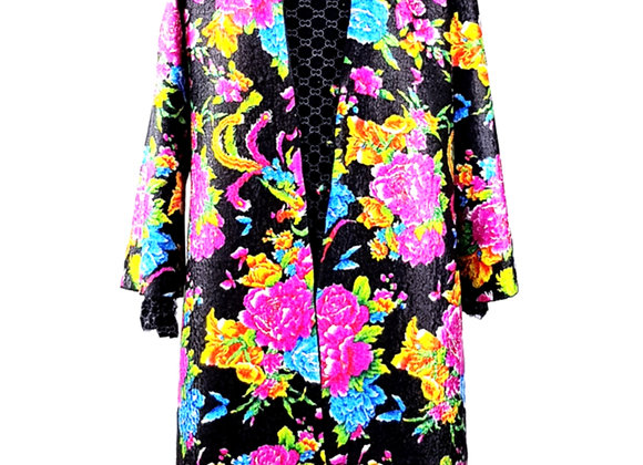 Black Silk Effect Embossed Fabric Floral-Patterned Reversible Coat
