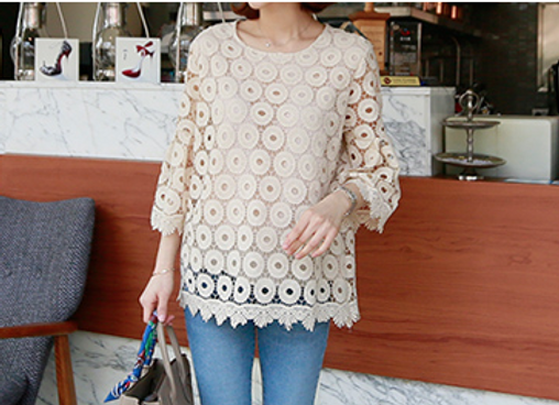 Ring Pattern French Lace Tunic Top