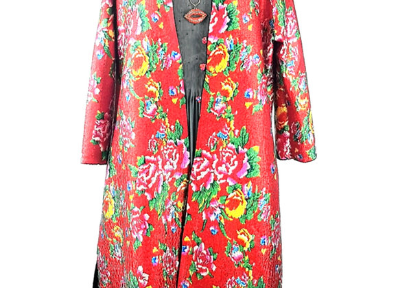 Red Silk Effect Embossed Fabric Floral-Patterned Reversible Coat