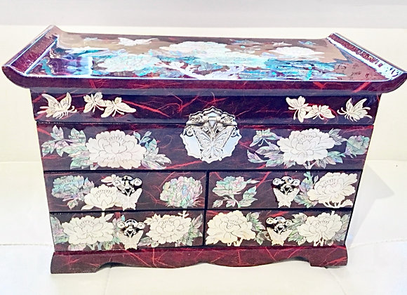 Mother of Pearl Miniature Chest Jewellery Box with Magnolia Blossoms Design