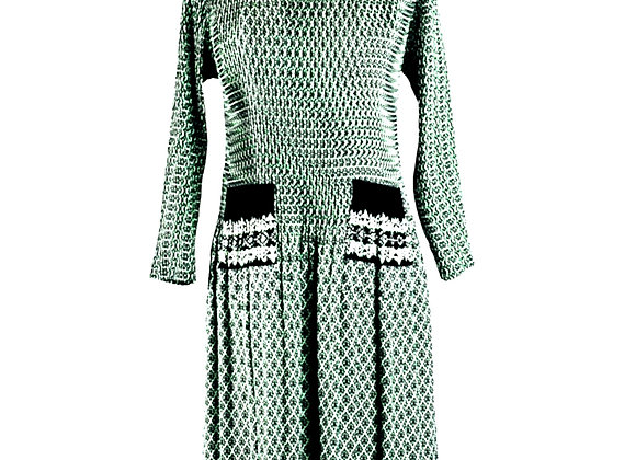 Pale Green Pleated Diamond Puzzle Patterned Elasticated Dress