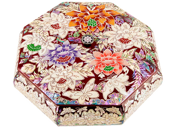 Mother of Pearl Octagonal Jewellery box with Magnolia Blossoms