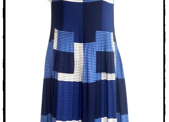 Navy Blue Symmetrical Square Patterned Short Sleeved Dress