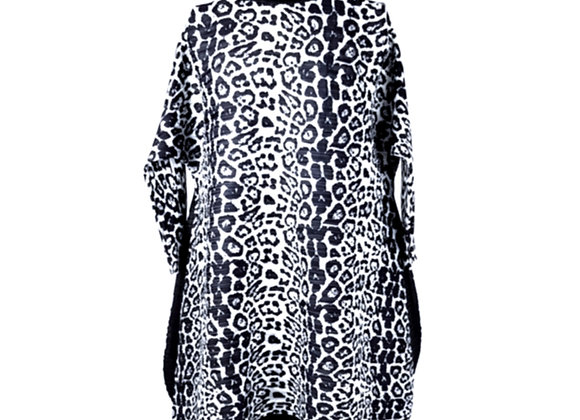 Black Pleated High Neck Leopard Patterned Elasticated Tunic Top
