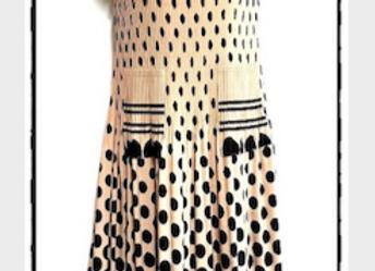 Beige Pleated Polka Dot Patterned Short Sleeved Dress