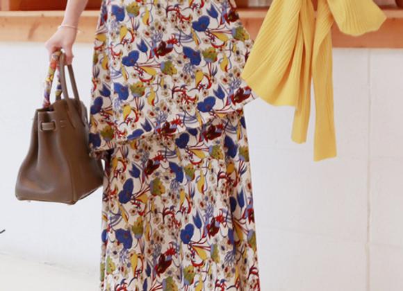 CanCan Frilled Hemline Long Flora Skirt