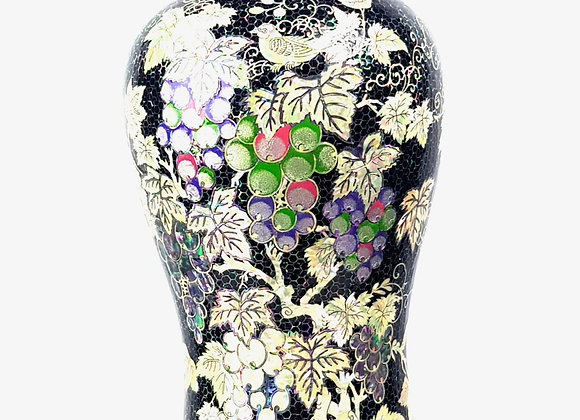 Mother of Pearl Inlaid Black Vase with Grapevine Design