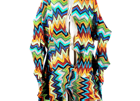 Multiple Colored Elasticated Triangular Wave Patterned 3D Cardigan