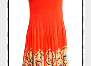 Orange Pleated Moroccan Style Patterned Short Sleeved Dress