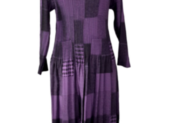 Purple Pleated Square Patterned Elasticated Dress