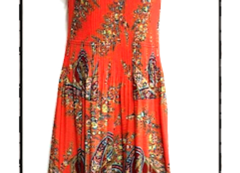Orange Pleated Peacock Patterned Short Sleeved Dress