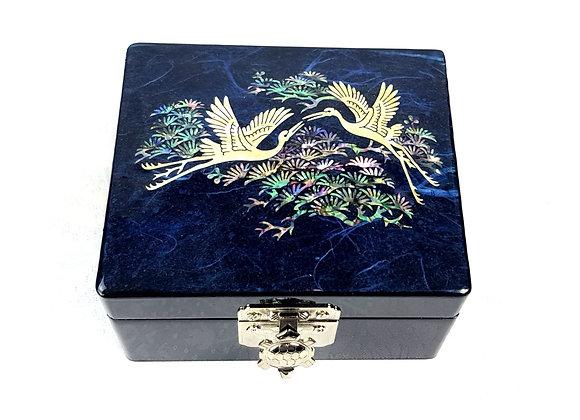 "Small ""Hanji"" Square Jewellery Box - Mystery Blue"