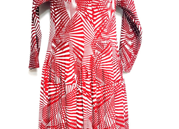 Pleated Red Line Splitting Patterned Elasticated Dress