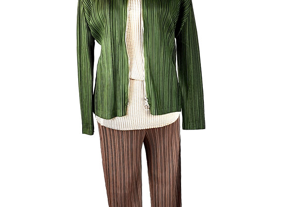 Smart Casual Pleated Jacket, Top and Trouser Set