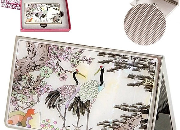 Mother of Pearl Anti Scan Credit Card Case with Cranes & Plum Blossom Design