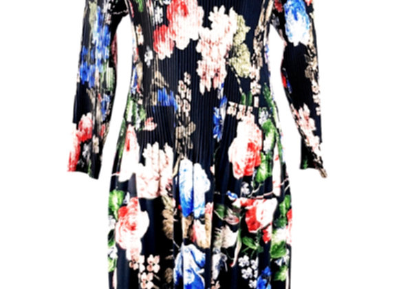 Black Pleated Red & Blue Flower Patterned Elasticated Dress