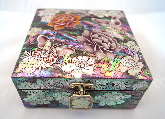 Mother of Pearl Square Jewellery Box with Magnolia Blossom Design